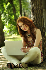 beauty, girl, laptop, mobile, outdoor, young
