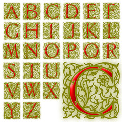 ABC Alphabet background arabesque initials design