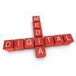 Digital media 3D crossword on white background