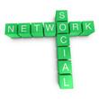 Social network 3D crossword on white background