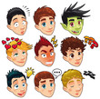 Various expression of boys. Vector isolated characters