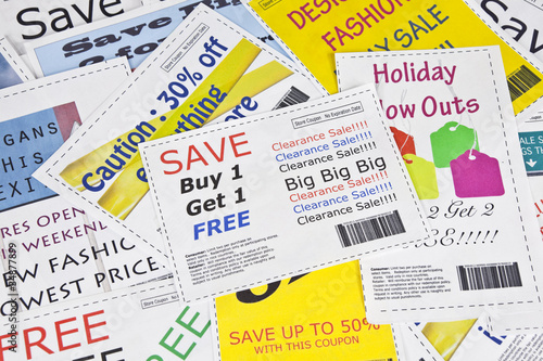 Fake Fashion Coupon Clippings Background