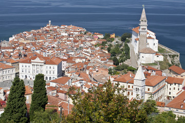 Panorama of Piran, Slovenia as it seen from old city walls.