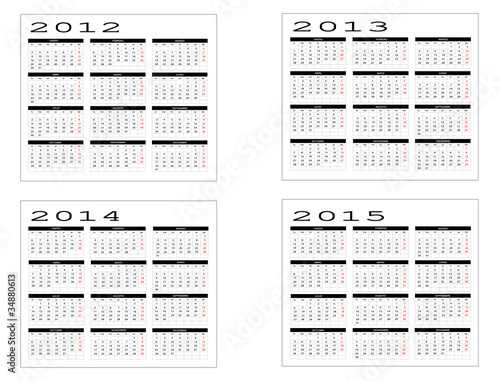 Вектор: calendario año 2012-2013-2014-2015.