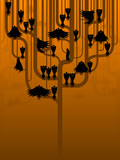 A murder of scary crows perch in a strange tree poster