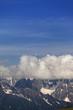High mountains in clouds, Caucasus Mountains, Georgia.