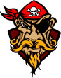 Pirate Mascot with Bandana Cartoon Logo