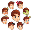 Various expressions of boy. Vector isolated characters