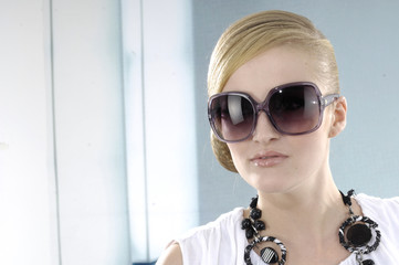 fashion model in modern sunglasses