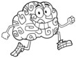 Outlined Running Brain Cartoon Character