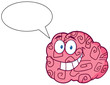 Happy Brain Cartoon Character Speak
