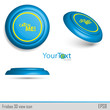 3D view of blue icon frisbee.Vector illustration.