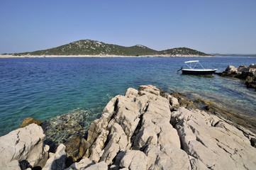 Meer Insel Boot Felsen Kroatien