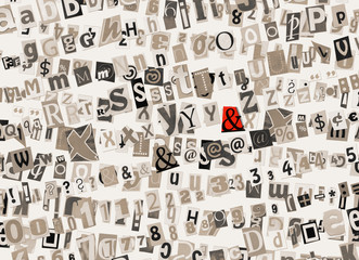 "Abstract monochrome collage background with red sign ""&"""