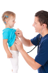 Man with stethoscope testing child