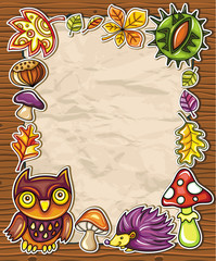 Vector frame with autumnal nature symbols 3