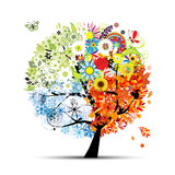 Fototapety Four seasons - spring, summer, autumn, winter. Art tree