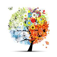 Quatre saisons - printemps, été, automne, hiver. Art tree