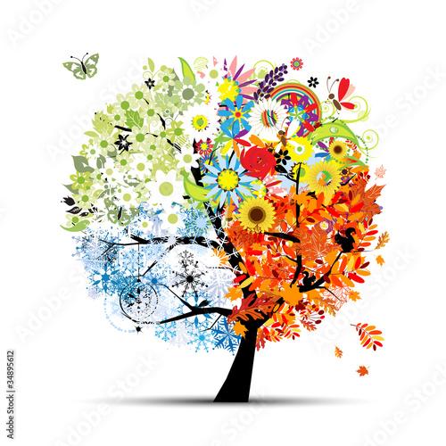 Cztery pory roku - wiosna, lato, jesień, zima. Drzewo artystyczne