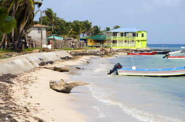 waterfront hotel fishing boats Corn Island Nicaragua