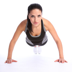 Push ups fitness exercise by young beautiful woman
