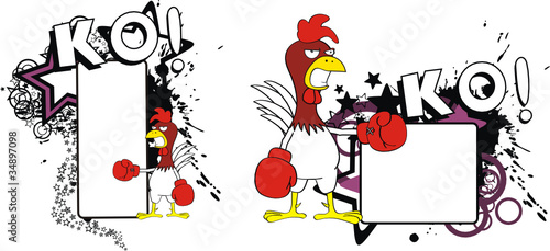 chicken boxing cartoon copyspace3