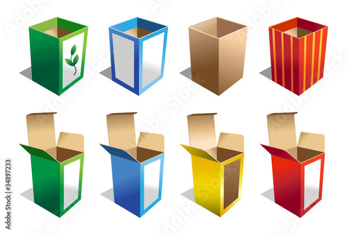 A set of 8 Boxes in different colors
