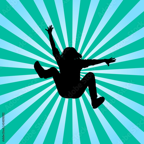 Boys jumping vector silhouette