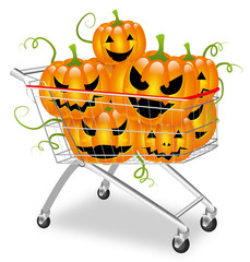 Shopping cart filled with halloween pumpkins