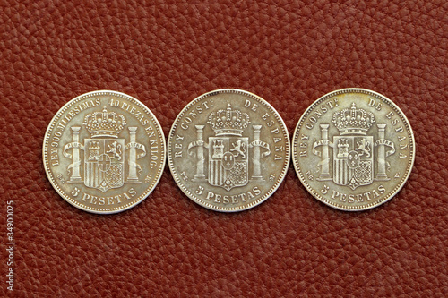 five pesetas spain old coins Alfonso XII Carlos III