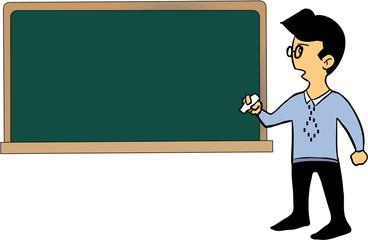 Cartoon teacher standing by the blackboard