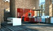 Küchendesign - rote Küche mit Klinkerwand