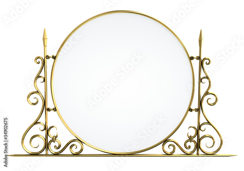 Decorative vintage sign or mirror. 3D render