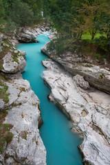 Beautiful turquoise mountain river Soca, Slovenia