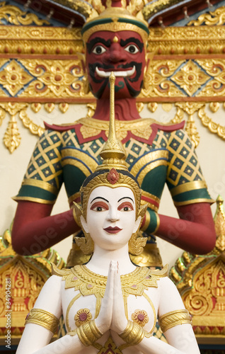Poster Temple Statue, Buddhist Temple, George Town, Penang, Malaysia