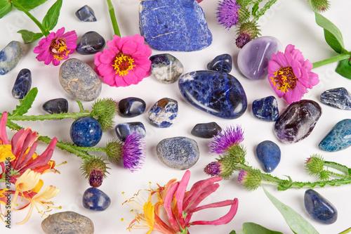 Blue gemstones, sodalite, saphire and lapis lazuli