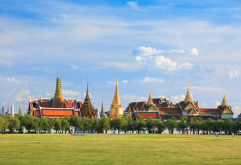 Wat phra kaew, Grand palace, Bangkok, Thailand (view from new gr