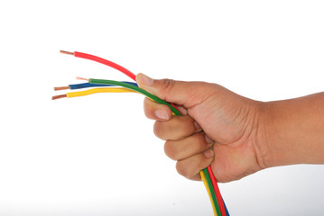Hand holding a wire