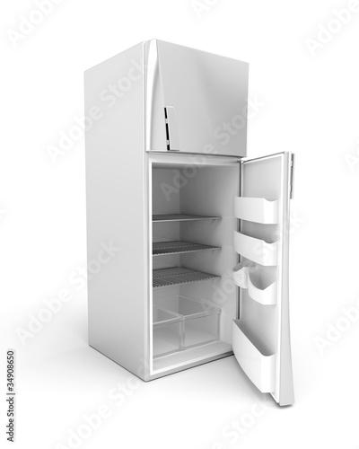 Silver modern fridge