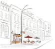 Series of street cafe in sketches