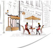 Series of street cafe in sketches with people