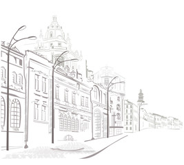 Series of sketches of old cities streets