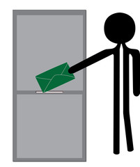 man posting envelope