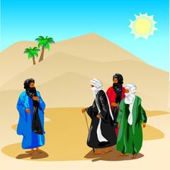 Beduins in desert