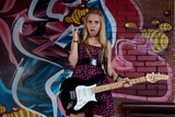 teenage girl  with  electric guitar