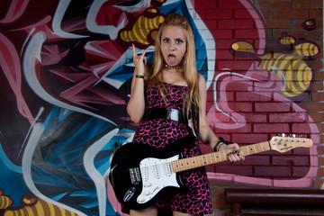 teenage girl  with  electric guitar