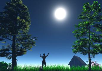 Happy man in the moonlight