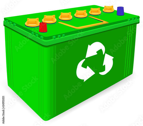 green car battery with recycle sign isolated on white