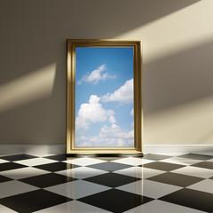 Vintage mirror checker floor imaginary sky inside