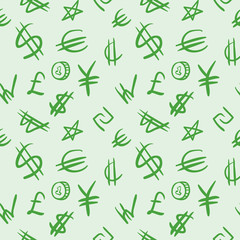 World currency symbols. Seamless background pattern.